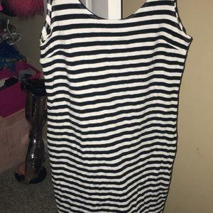 Black and white striped mini dress